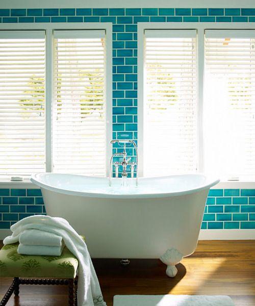 Turquoise Bathroom.: Bathroom Design, Glasses Tile, Dreams Houses, Color, Turquoi Blue, Blue Tile, Clawfoot Tubs, Window Shades, Subway Tile Bathroom