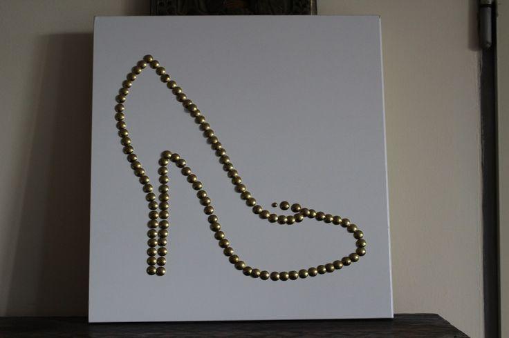 """At www.fler.cz  ...Stiletto heels Pop Art Lodička na vysokém podpadku """"Stiletto High Heels"""" ve stylu pop art umělecké hřebíčky + podklad: dřevotřísková deska smelaminovu fólií rozměr: 38 cm x 40 cm x 1 cm"""