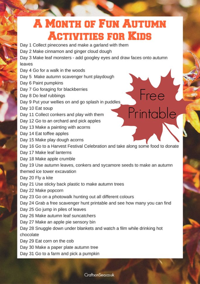 Keep the kids busy and having fun for a whole month with this calendar of autumn activities for kids. So many cool ideas to try!