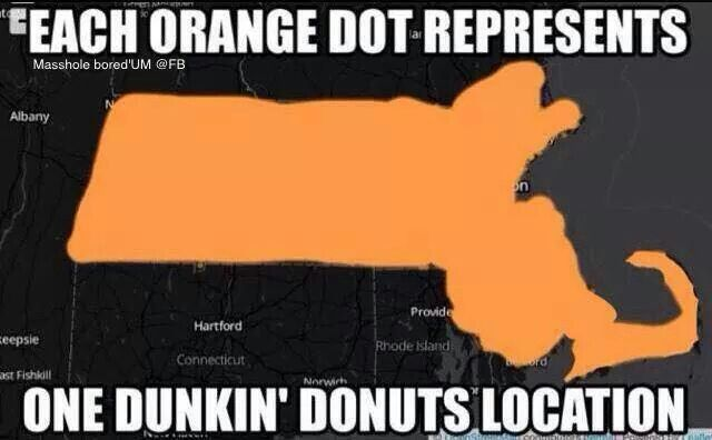 Welcome to Massachusetts you will be seeing a DUNKIN DONUTS every 1/2 mile