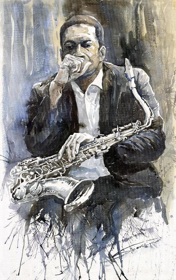 Jazz Saxophonist John Coltrane yellow Painting by Yuriy Shevchuk - Jazz Saxophonist