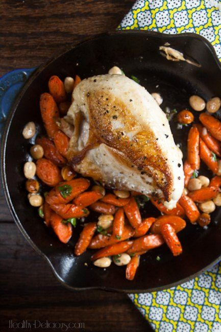 Pan Roast Chicken with Carrots and Almonds | Recipe