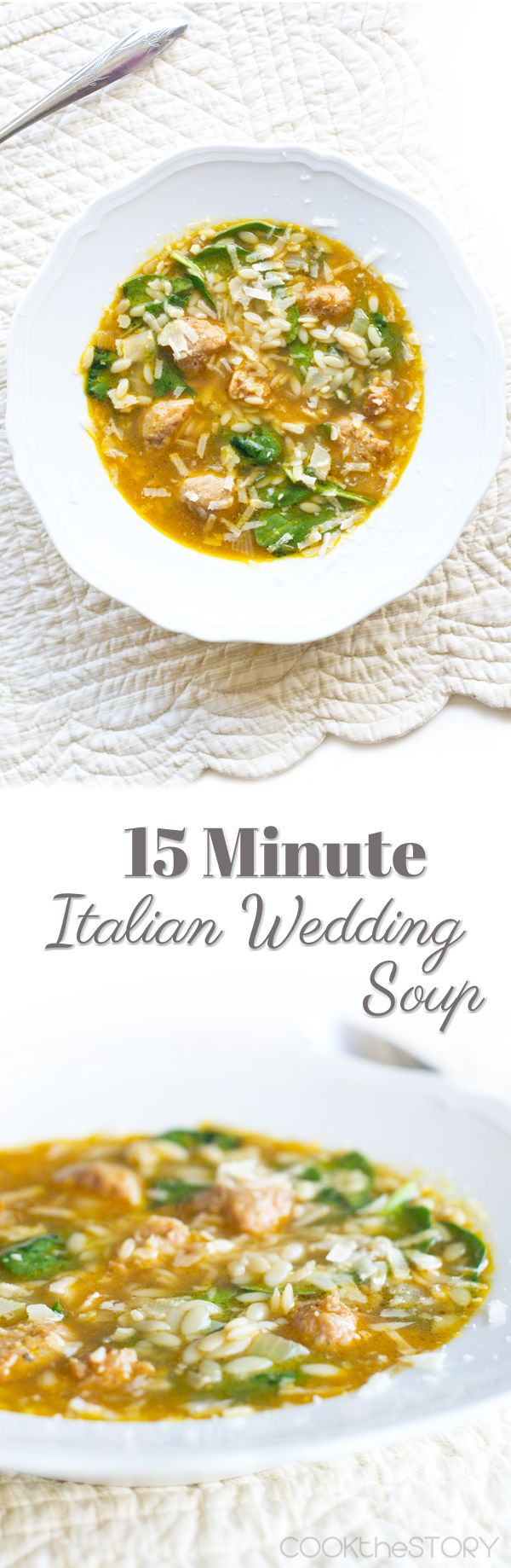 15 Minute Italian Wedding Soup recipe - chicken sausage, spinach, and orzo pasta make this quick and easy soup recipe so flavorful.