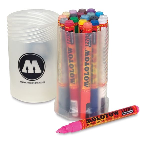 Molotow Acrylic Refillable Markers. Screw Top Set of 20, @ $85 at Blick online. Set has 1.5mm & 2mm tip markers including neon colors(2mm). Excellent value, great starter set!