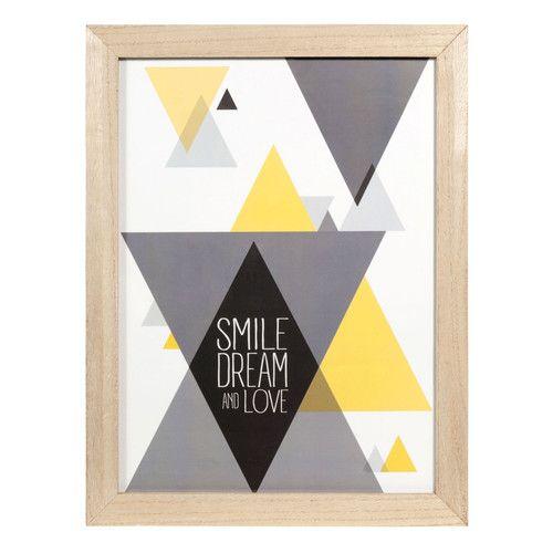Schilderij met houten lijst, 36 x 47 cm, SMILE & DREAM YELLOW