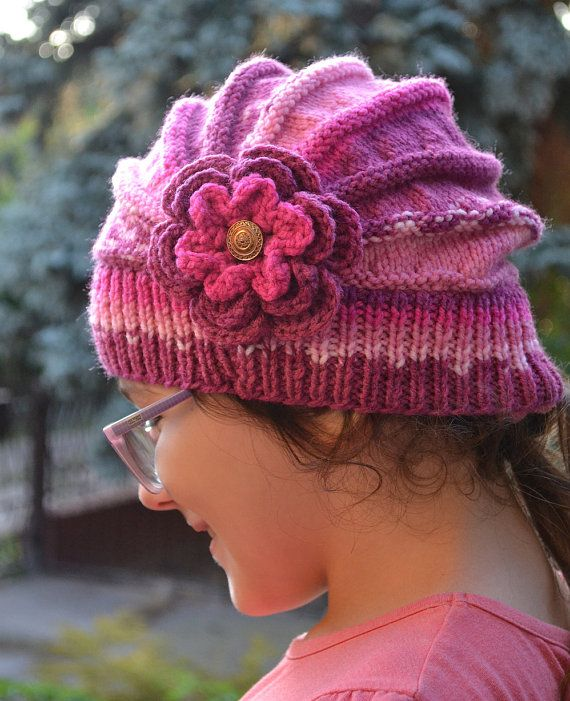 Knitted Children's hat cap purple pink fuchsia by DosiakStyle