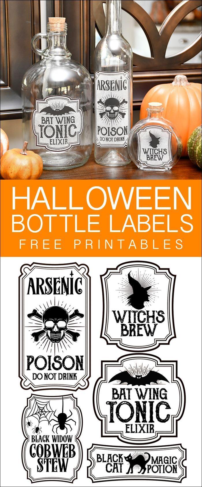 halloween bottle label stickers