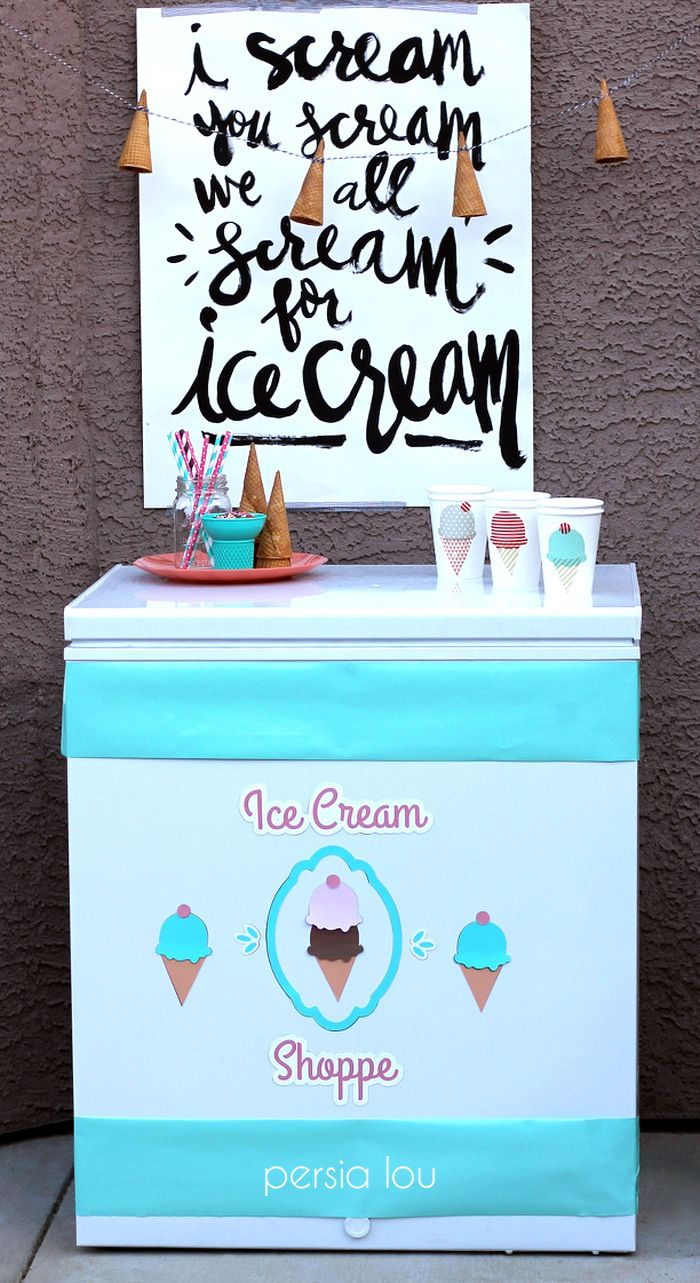 DIY Ice Cream Shop Freezer Decorations with magnet sheets and Cups by Persia Lou. Perfect for a summer party!