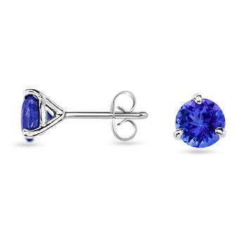 Angara Oval Tanzanite and Diamond Earrings With Metal Curves in Platinum R5viH