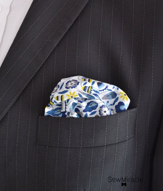 Liberty Pocket Square  Men's Handkerchief   Flowers by SewMiracle