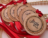 Jingle Bells Christmas Vintage Style Tags - Set of 5  - Bright Red Ribbon and Glitter - Happy Holidays
