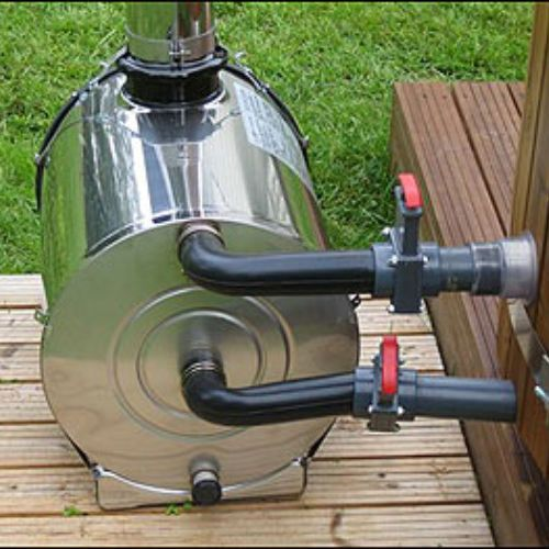 Make a wood stove water heater for outdoor shower
