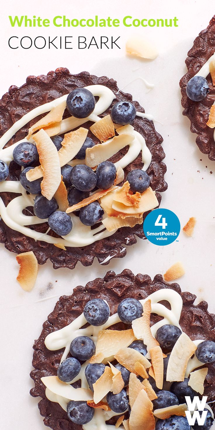 Indulge in a dessert that's fruity & sweet. Tap to get this 4 SmartPoint White Chocolate Coconut Bark recipe.