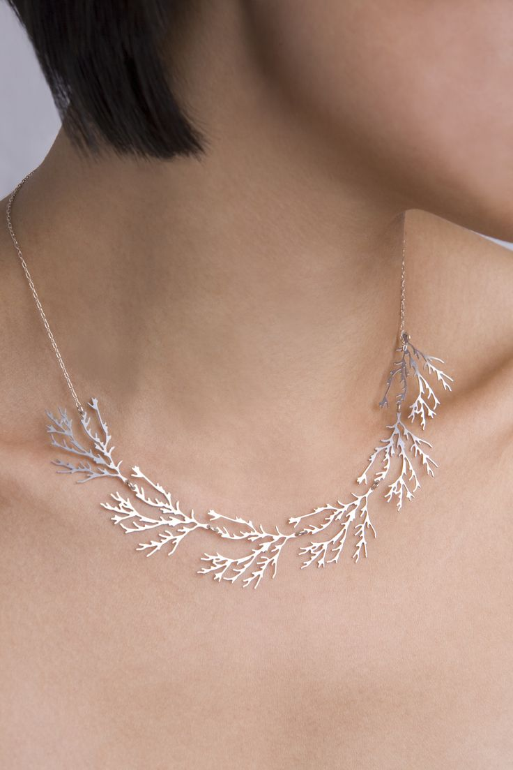 Coral Filament 3D Printed Gold & Stainless Steel Necklace