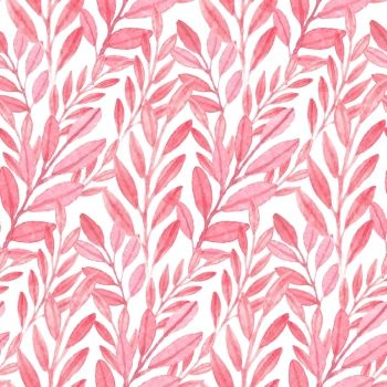 Seamless watercolor vector Pink pattern of leaves