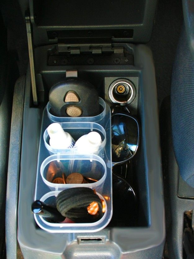 Sort essentials in your car console with that dollar-bin popsicle maker you never make popsicles with.