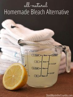 Super simple recipe for homemade bleach alternative recipe that uses all natural ingredients found in your home. The best part - it costs 1/3 less than store-bought and works great! :: DontWastetheCrumbs.com