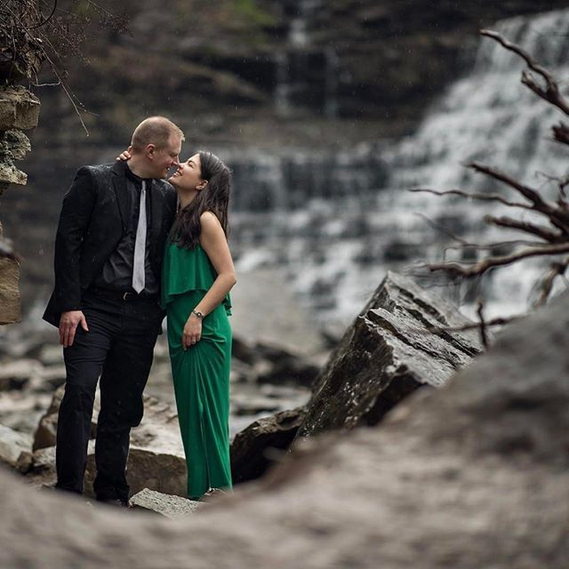A more formal look near the end of the shoot with our couple at Websters Falls. It's great having a couple different looks during the shoot to provide a different feeling. #engagement #engagementphotos