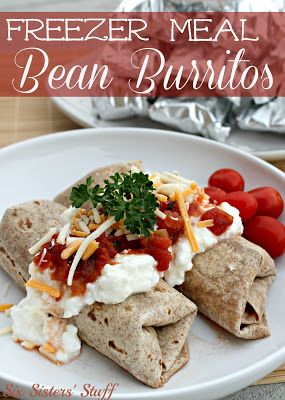 Save money and time by making Bean Burritos in your slow cooker! These are perfect for lunch and can be frozen until you're ready to eat them. #CrockPot #SlowCooker #BacktoSchool #Recipes