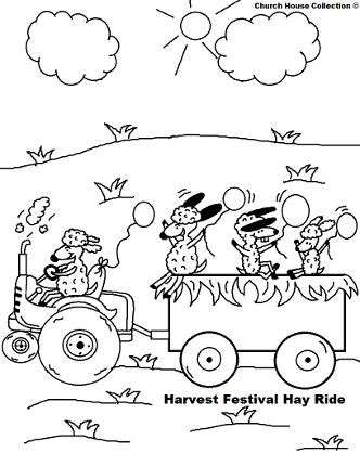 Church Fall Festival Hay Ride Coloring Page