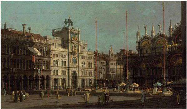 Giovanni Antonio Canal, called Canaletto (Venice 1697 -1768)The Piazza San Marco: the Northeast Corner, and The Piazzetta: looking East, with the Ducal Palace oil on canvas: each 8 x 16 in. (20 x 41 cm.)- a pair