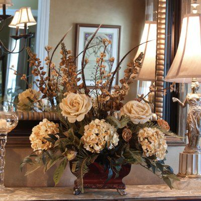 """Roses, Hydrangeas & Feather Silk Floral Centerpiece AR266. Soft Cream Silk-like roses, hydrangeas, and delphinium and created in a rectangular resin vase and accented with Pheasant Feathers. 19""""H x 21""""W"""