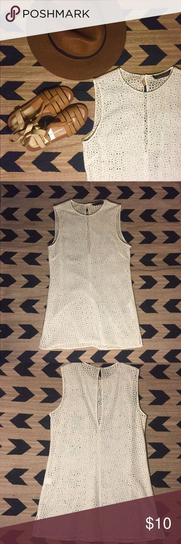Zara white tunic/swimsuit coverup.  See through. Zara white tunic/swimsuit coverup.  See through.  XS.  Never worn. Zara Swim Coverups