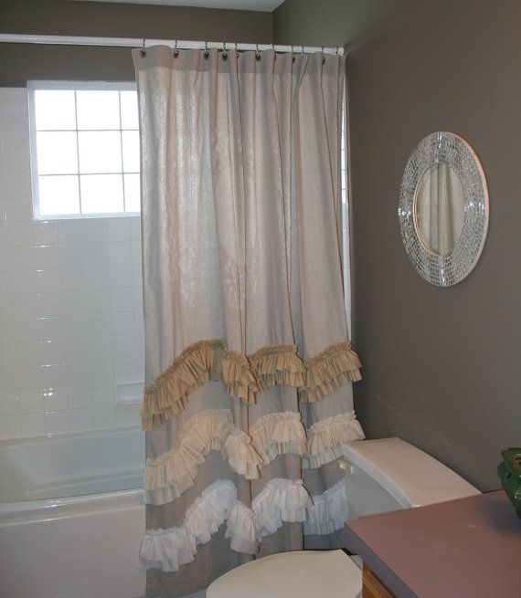 Shabby Chic WAVE Coastal Shower Curtain Patio Door From Repurposed Drop Cloth Painters With Three Wave Ruffles