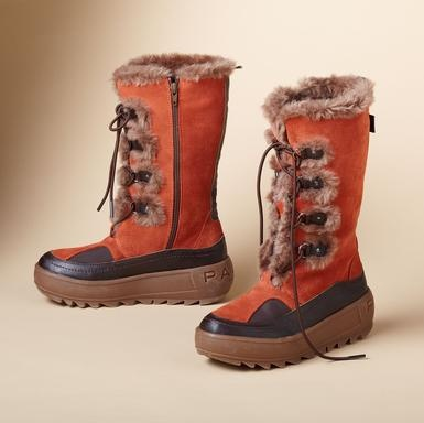 Pajar's Native Boots  Fully waterproof, fleece lined, and fantastic in suede/leather with faux fur, these intrepid beauties from Pajar handle winter with ease. Slip on, lace up