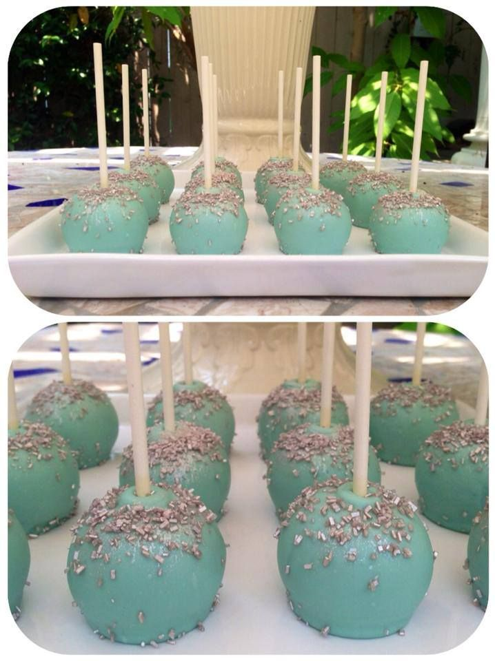 """Tiffany Blue"" flat bottomed cake pops topped with shimmering silver sanding sugar"