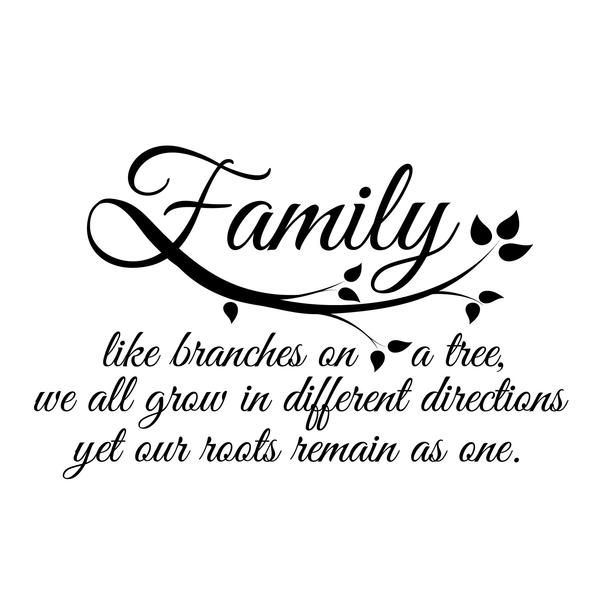 """Family like branches on a tree, we all grow in different directions yet our roots remain as one."" This listing is to purchase the quote pictured above in bla"