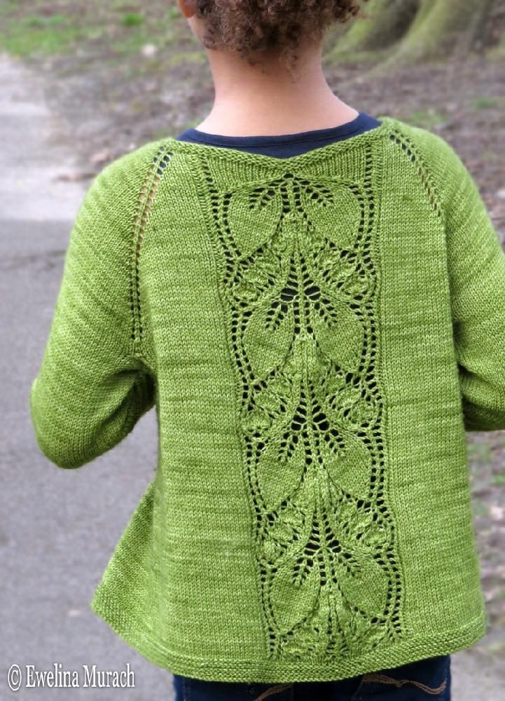 Leaf Lace Cardigan is a light top-down raglan cardigan, made in fingering yarn, with an eye-catching leaf lace panel at the back.