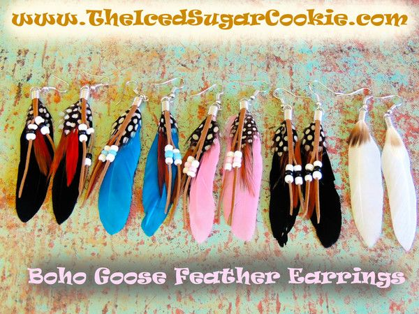 Goose Feather Earrings Black Pink Blue Brown White By The Iced Sugar Cookie- Boho Bohemian Tribal Indian Beaded