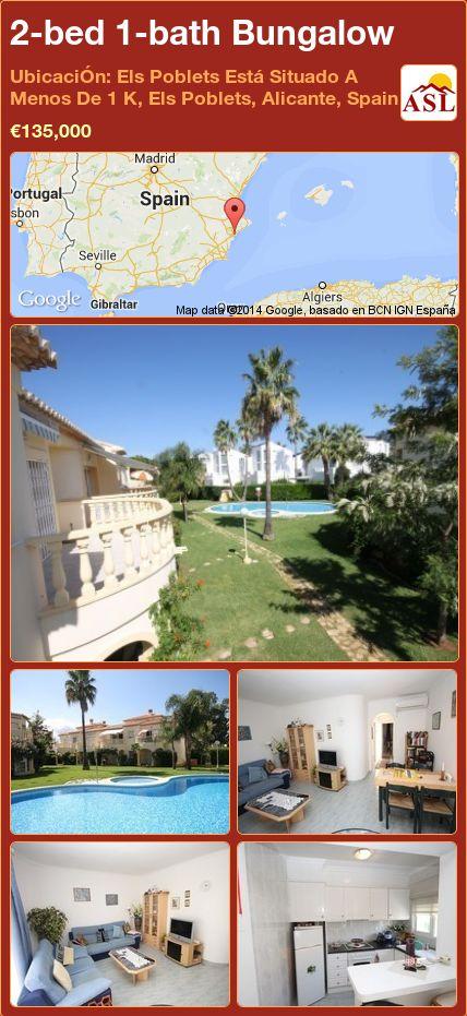 2-bed 1-bath Bungalow in UbicaciÓn: Els Poblets Está Situado A Menos De 1 K, Els Poblets, Alicante, Spain ►€135,000 #PropertyForSaleInSpain