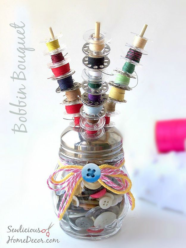 DIY Craft Room Ideas and Craft Room Organization Projects -  Bobbin Bouquet  - Cool Ideas for Do It Yourself Craft Storage - fabric, paper, pens, creative tools, crafts supplies and sewing notions     http://diyjoy.com/craft-room-organization