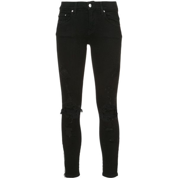 Amiri ripped skinny jeans ($1,185) ❤ liked on Polyvore featuring jeans, black, skinny leg jeans, destroyed denim skinny jeans, amiri jeans, denim skinny jeans and ripped denim skinny jeans