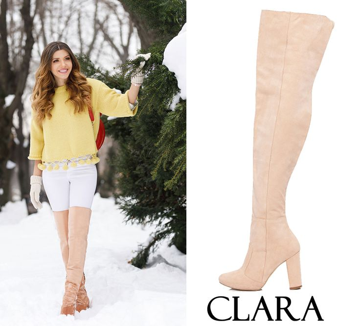 The nude Clara over the knee boots are made of suede of the highest quality @j