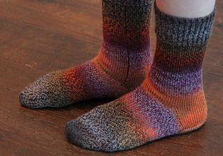Machine Knit Socks with Dutch Heel by Gerda Stitt and Cathie Sanders knit in 4ply fingering yarn. FREE pattern on Ravelry