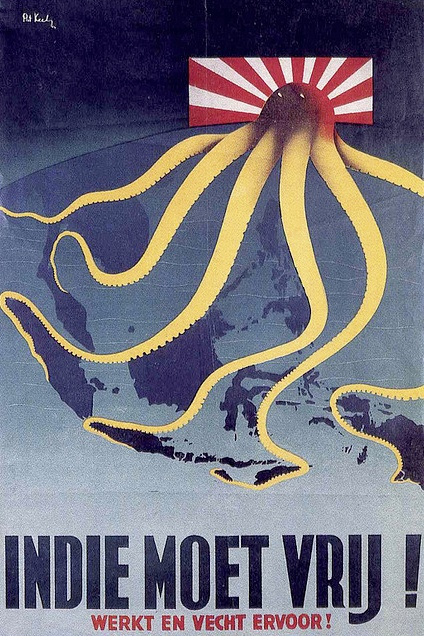 "Indie Moet Vrij! (""The Indies Shall Be Freed!""), 1944 The Dutch had a vested interest in the Japanese occupation of Indonesia. This British poster was distributed by the Netherlands Government in exile and distributed in the liberated South of the Netherlands towards the end of WWII. War Posters: Weapons of Mass Communication by James Aulich (New York: Thames & Hudson, 2007)."