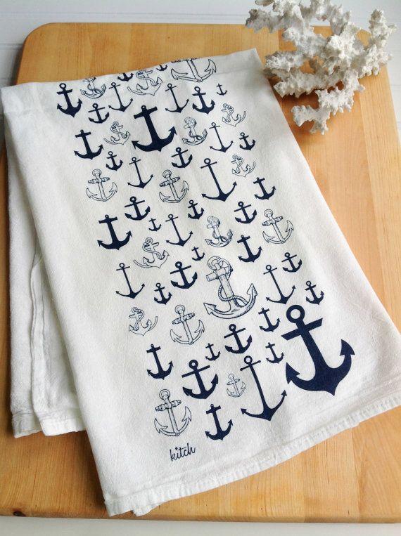 Tea Towel - Nautical Anchor Navy Blue Kitchen Flour Sack Eco Friendly Dish Cloth Sailing Summer Decor