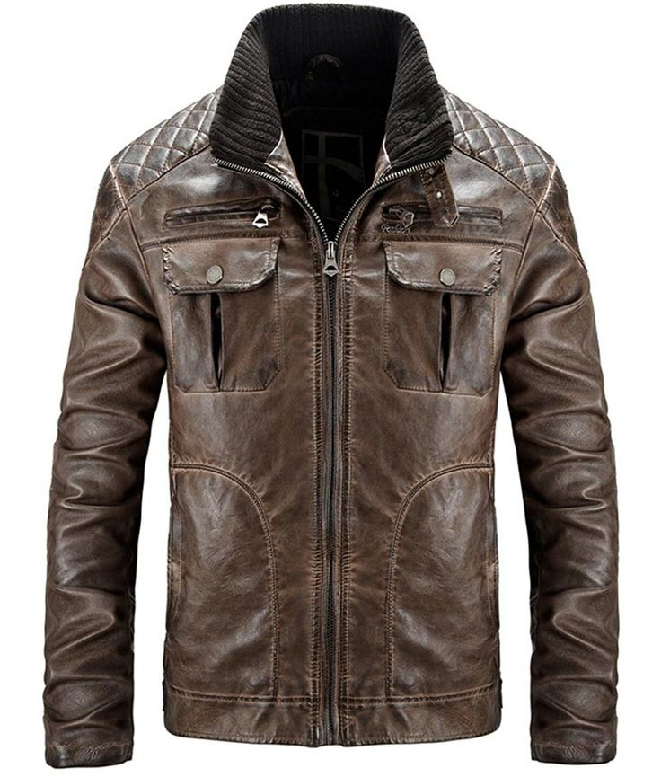 Mens Stylish Brown Distressed Waxed Quilted Shoulders Biker Leather Jacket