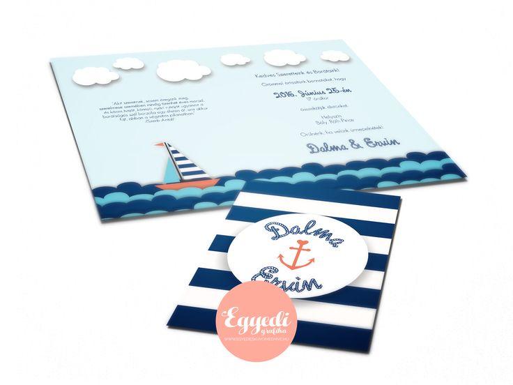 Tengerészeti stílusú, kék-fehér esküvői meghívó | Navy blue and white invitation card for wedding
