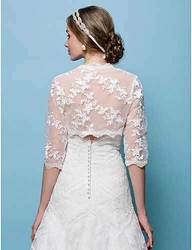 bruiloft wraps bolero kant wit / beige bolero schouderophalen – EUR € 31.34