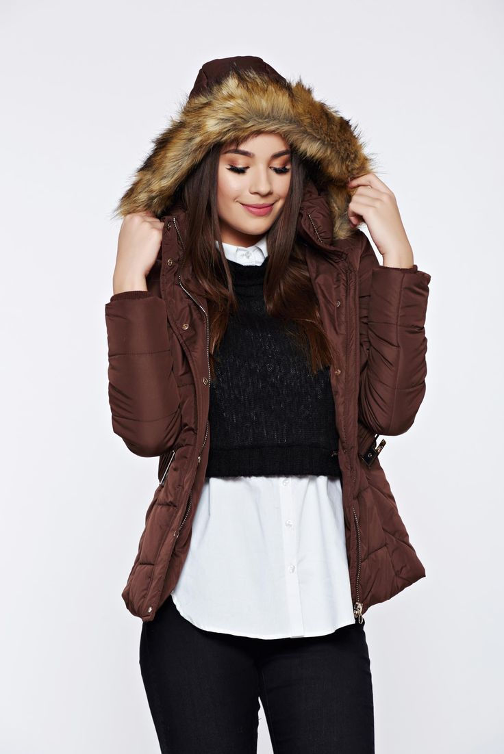 Top Secret brown casual jacket from slicker with faux fur details, women`s jacket, faux fur details, with pockets, detachable hood, zipper fastening, inside lining, slicker fabric