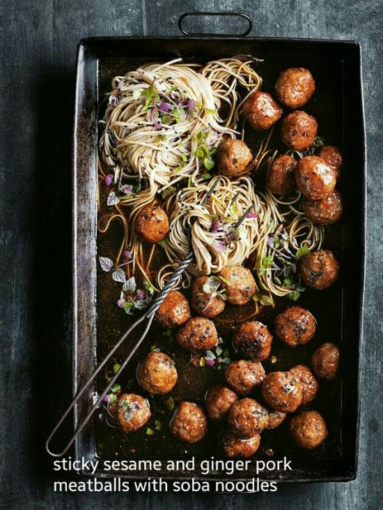 Sticky sesame and ginger pork meatballs with soba noodles. Soba means buckwheat and the buckwheat noodle is called originally soba-giri or soba-udon.