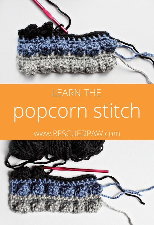 Learn to Crochet the Popcorn Stitch! Tutorial From Rescuedpaw.com ✿⊱╮Teresa Restegui http://www.pinterest.com/teretegui/✿⊱╮