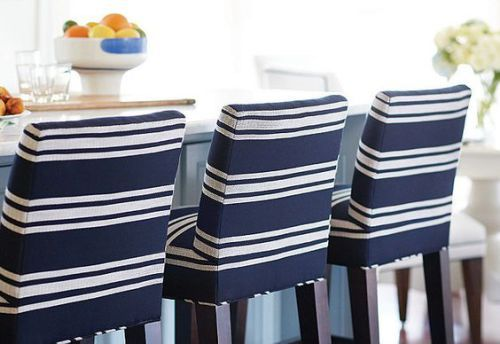 Lee Industries blue and white striped barstools