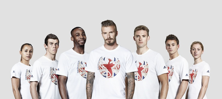 Sportsmen and women wearing their adidas Front Line to Start Line t-shirts (left to right):   Jessica Ennis, Gareth Bale, Phillips Idowu, David Beckham, Pete Reed, Tom Daley, Laura Trott.
