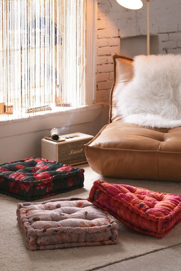 Sierra Floral Velvet Floor Pillow Floor Pillows Elegant Home