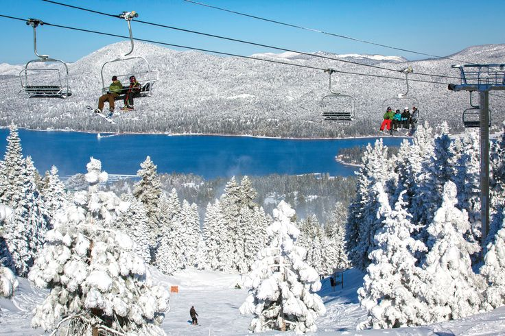Beautiful view of the snow covered mountains in Big Bear Lake, California while snowboarding and skiing.